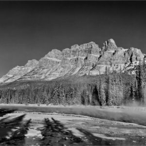 Castle Mountain In Winter, AB