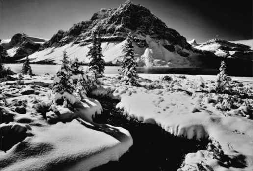 Early Winter Bow Lake, Banff NP, AB 8X10