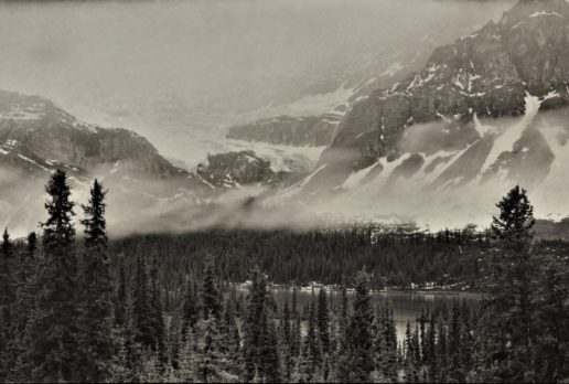 Misty Morning At Crowfoot Glacier, Banff NP, AB